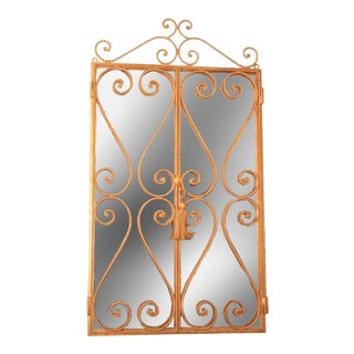 Vintage Italian Hollywood Regency Gold Tole Iron Open Door Rope Tassel Mirror