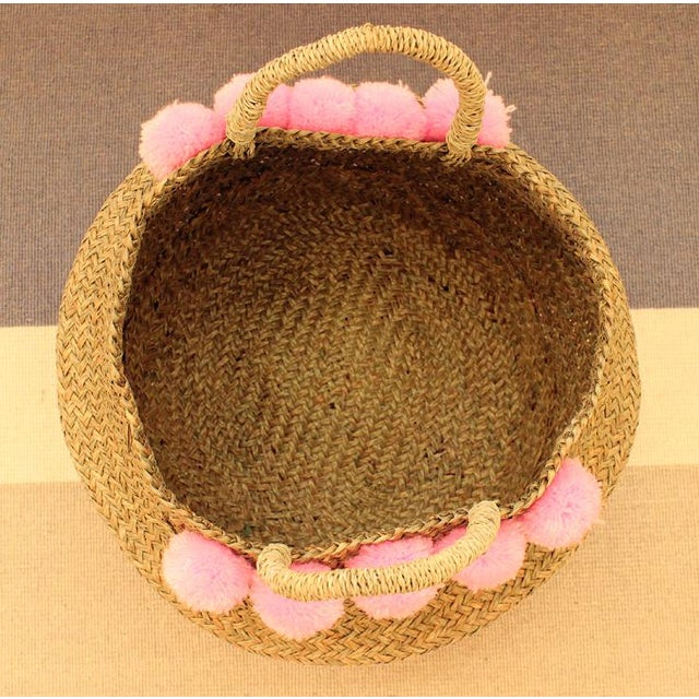 Double Woven Sea Grass Pastel Pink Pom Poms Belly Basket - Image 6 of 7