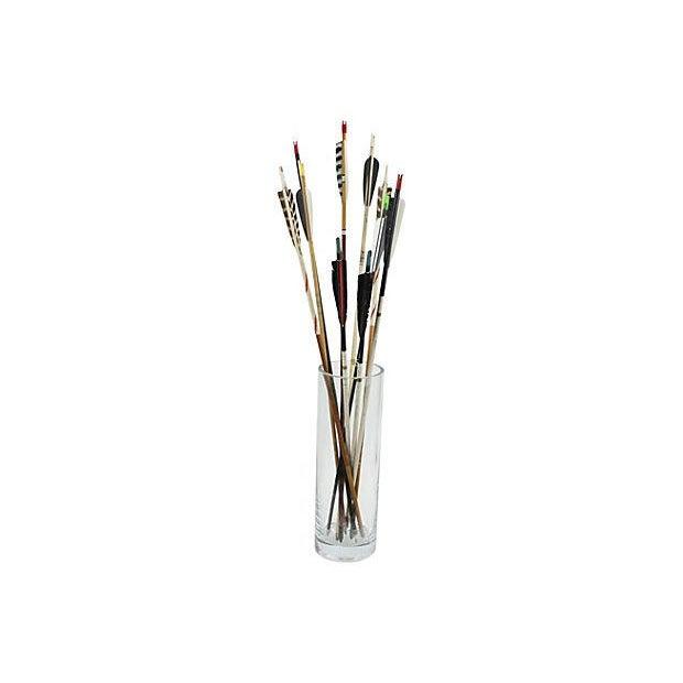 Image of Midcentury Arrows in Black & White - S/10