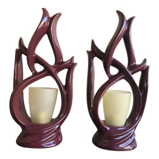 Mahogany Fired Porcelain Table Lamps - A Pair
