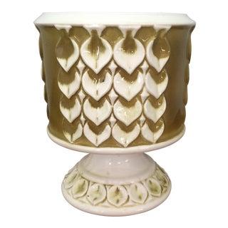 Vintage Glazed Ceramic Pedestal Vase