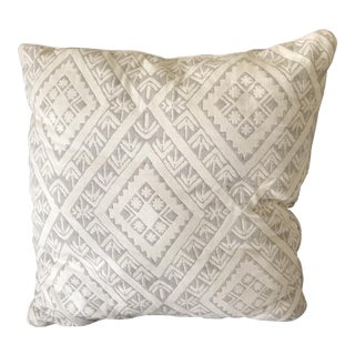 Light Grey and White Reversible Pillow