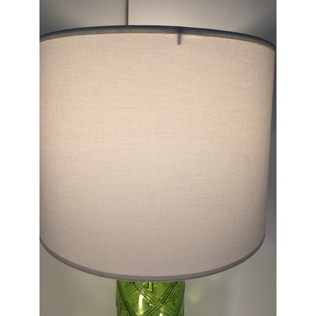 Image of Green Glass Lamp With Bamboo Pattern