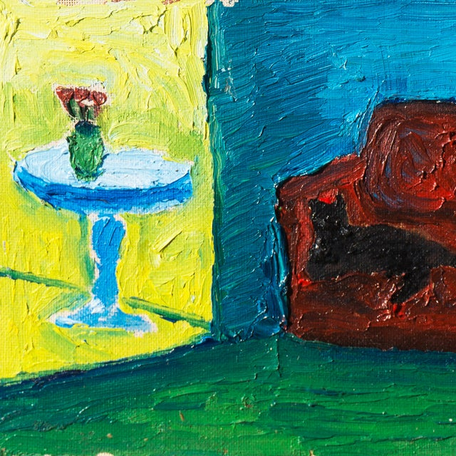 Jonathan Taylor Black Cat on Red Chair Painting - Image 4 of 4