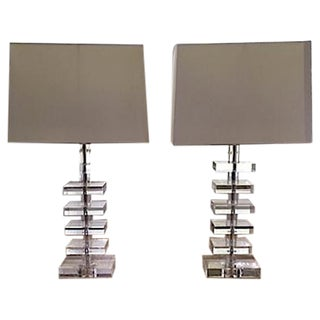 Mid-Century Stacked Glass Table Lamps - A Pair
