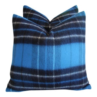 Blue & Black Scottish Tartan Plaid Wool Pillows - Pair