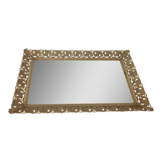 Vintage Hollywood Regency Gold Tone Vanity Tray/Mirror