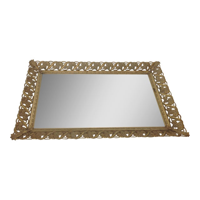 vintage hollywood regency gold tone vanity tray mirror chairish. Black Bedroom Furniture Sets. Home Design Ideas