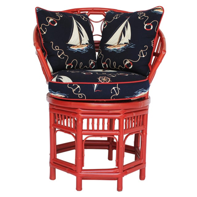 Bamboo Accent Chair W/ Nautical Theme - Image 1 of 9