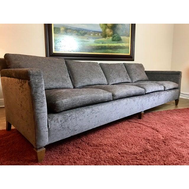 Mid Century Grey Sofa: Mid-Century Gray Velvet Sofa