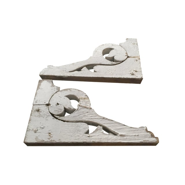 Distressed White Shelf Brackets- A Pair - Image 1 of 11