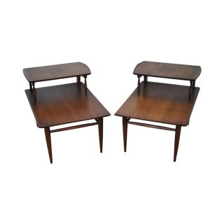Bassett Mid Century Modern 2 Tier Step End Tables - a Pair