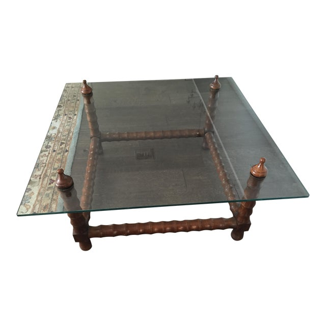 Vintage Wood & Glass Coffee Table