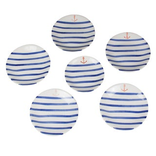 Set of Six Nautical Ceramic Dishes by Colette Gueden