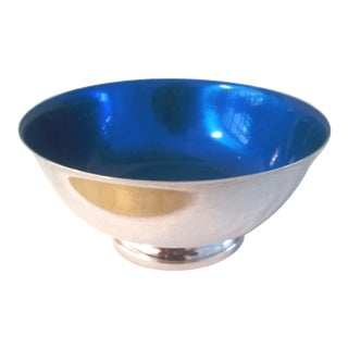 Vintage Cobalt Blue Enamel Silverplate Bowl