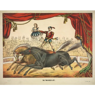 19th-C. Two Horse Act Circus Print