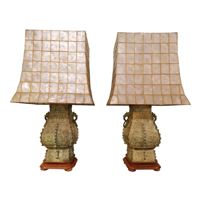 James mont style capiz shell shade lamps a pair chairish - Artistic d lamp shade designed with modern and elegant shape style ...