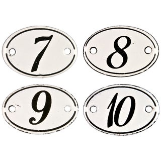 French Enamel Hotel Numbers - Set of 4