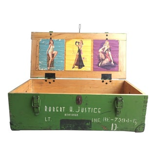 WWII Green Military Trunk With Pin Up Girls