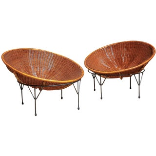 Rattan Hoop Lounge Chairs - A Pair