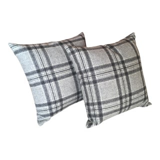 "Wool Plaid Pillows 16""x16"" - A Pair"