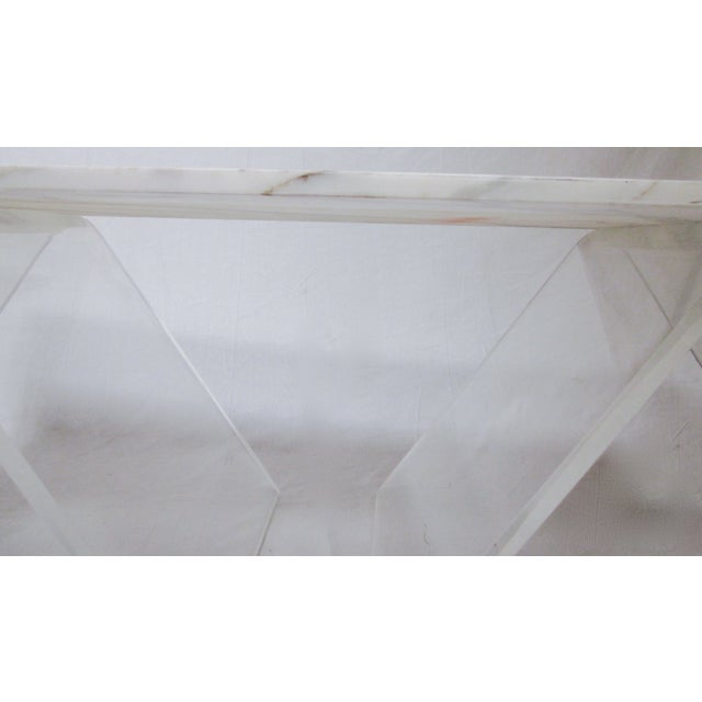 Lucite Base Coffee Table with Marble Top - Image 3 of 11