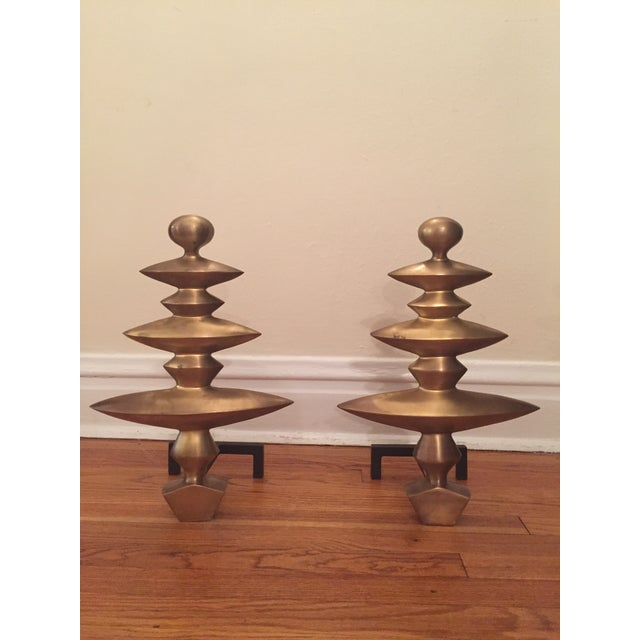 Image of Geometric Fireplace Andirons - A Pair