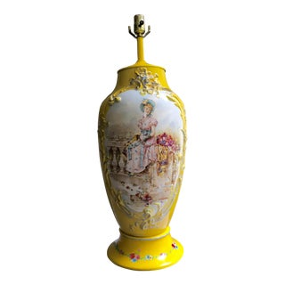 French Hand-Painted Yellow Porcelain Lamp