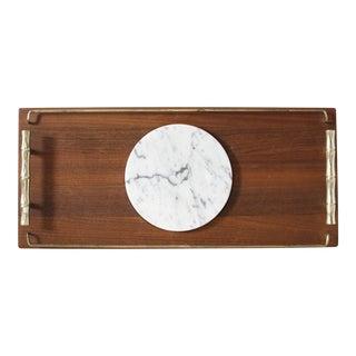 Vintage Mid-Century Teak & Marble Serving Tray