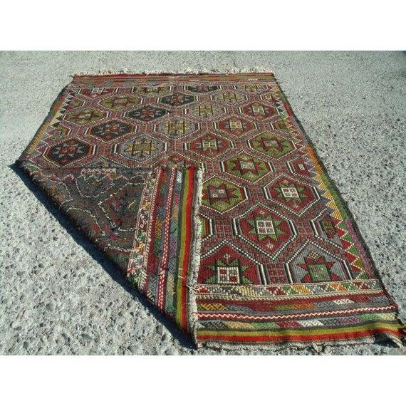 "Vintage Handwoven Turkish Kilim Rug - 6' 4""x8' 9"" - Image 5 of 6"