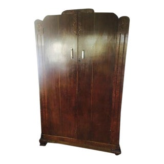 Antique Deco Wooden Armoire