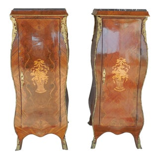 French Louis XV Style Reproduction Semanier Cabinets - A Pair