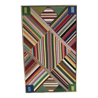 "Large Geometric Colorful Original Needlepoint Art - 36.35"" x 22.25"""
