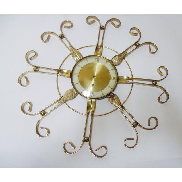 Mid Century Modern Hollywood Regency Atomic Clock - Image 2 of 11