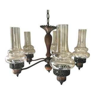 Mid Century Modern Copper & Wood Amber Glass Chimney Globe Chandelier