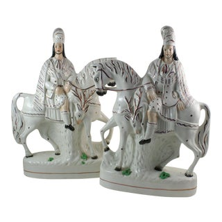 Antique Staffordshire Huntsman on Horseback - A Pair