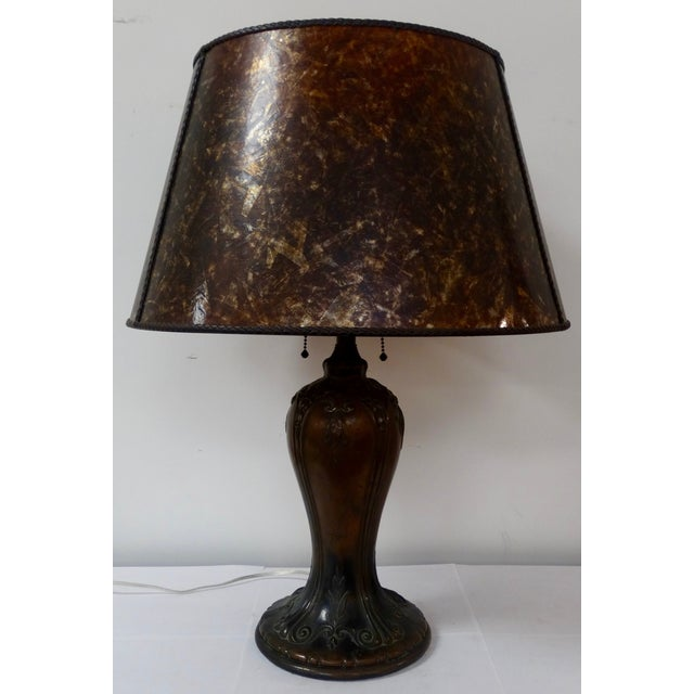 bronze arts and crafts table lamp chairish. Black Bedroom Furniture Sets. Home Design Ideas
