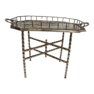 Italian Hollywood Regency Brass Faux Bamboo Folding Tray Table