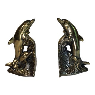 Vintage Brass Finish Dolphin Bookends - A Pair