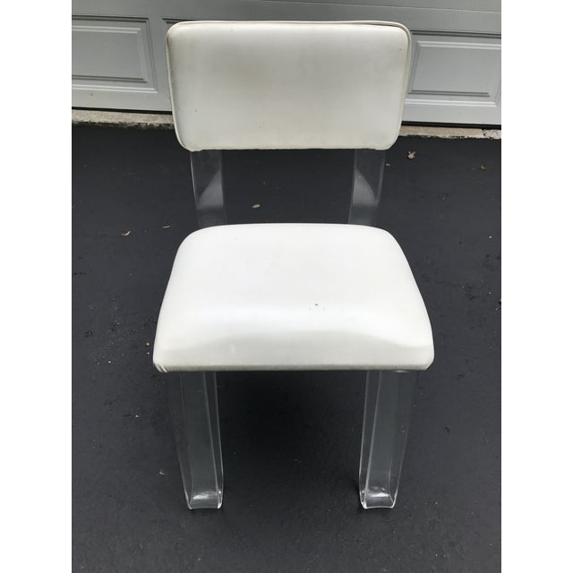 Lucite and White Vinyl Vanity Chair | Chairish