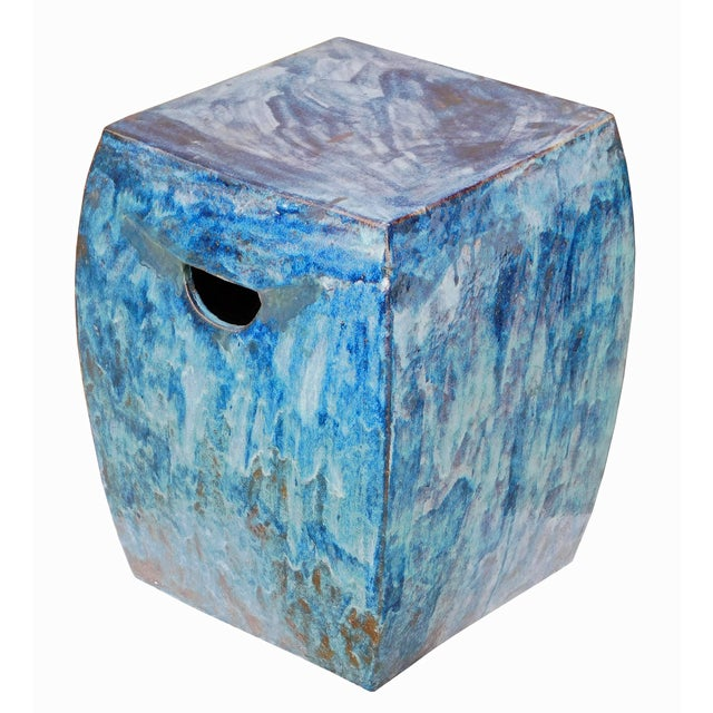 Blue Square Clay Ceramic Garden Stool Chairish