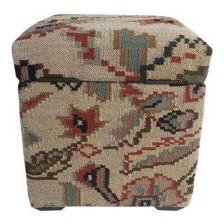 Kilim Upholstered Storage Ottoman