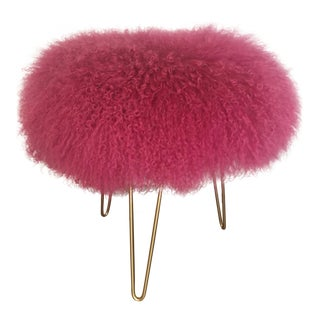 Hot Pink Mongolian Lamb Stool