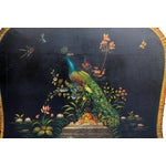 Image of Hand Painted Leather & Wood Fireplace Screen