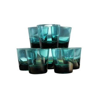 Vintage Blue-Green Rocks Glasses - Set of 8