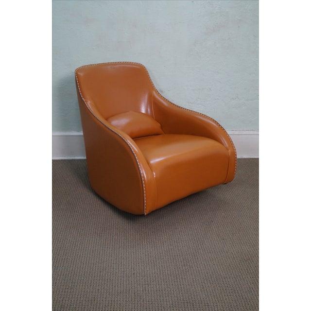 Unusual Italian Leather Rocking Lounge Chair - Image 10 of 10