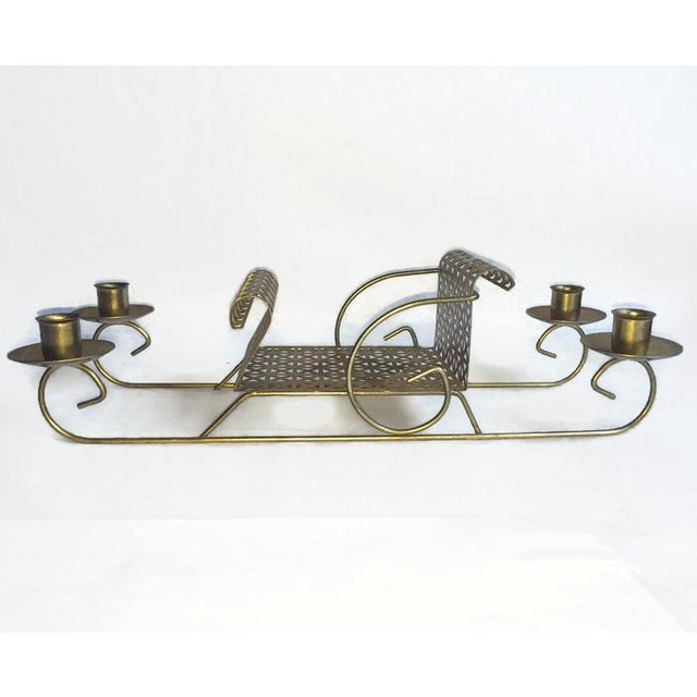 Mid-Century Pierced Metal Sleigh Candleholder - Image 3 of 8
