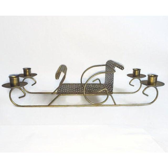 Image of Mid-Century Pierced Metal Sleigh Candleholder