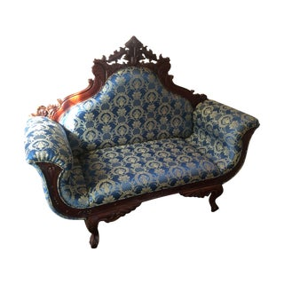 Antique Settee with Navy and Gold Upholstery