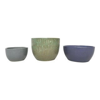 Zanesville Stoneage Modern & Homespun Stoneware Planters - Set of 3